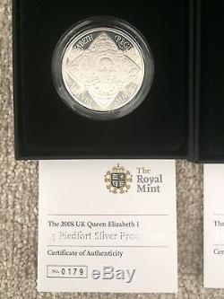 2008 UK Queen Elizabeth I £5 Silver Piedfort & Silver Proof Coin. Boxed with COA