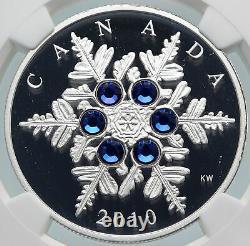 2010 CANADA Queen Elizabeth II 6 BLUE SWAROVSKI GEMS Silver $20 Coin NGC i85462