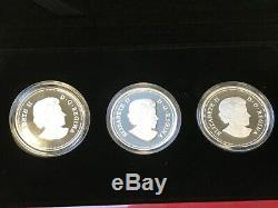 2012 Canada Queen Elizabeth II 60th Jubilee 3 Coin $20 Pure Silver Proof Set