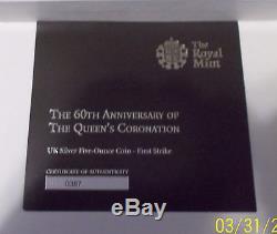 2013 G. BRITAIN QUEEN ELIZABETH II CORONATION 5 oz. SILVER PF 70 ULTRA CAMEO