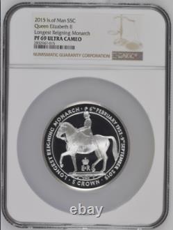 2015 Isle of Man S5Crown Silver 5oz Queen Elizabeth Reigning Monarch NGC PF69UC