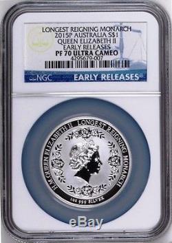 2015 QUEEN ELIZABETH LONGEST REIGNING MONARCH Silver $1 INTAGLIO coin NGC PF70