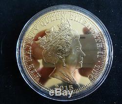 2015 Silver Proof Gold Plated 5oz Tdc £5 Coin Box + Coa Queen Elizabeth 1/99