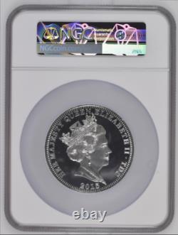 2015 Tristan Da Cunha TDC Silver 5oz Queen Elizabeth Longest Reigning NGC PF68UC