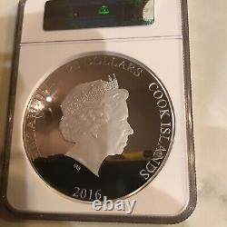2016 3Oz Silver Cook Is. S$20 Queen Elizabeth 90Th Birthday, PF70 Ultra Cameo
