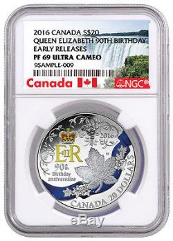 2016 Canada $20 1oz Silver Queen Elizabeth II 90th Birthday NGC PF69 ER SKU40533