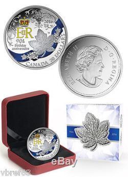 2016 Canada $20 Queen Elizabeth's 90th birthday coloured coin 99.99% silver