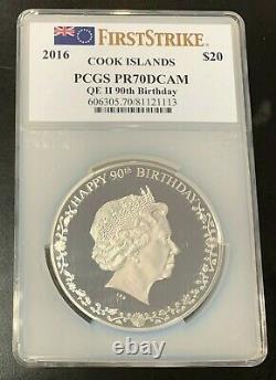 2016 Cook Islands $20 Silver 3oz Coin Queen Elizabeth II 90th Bday PCGS PR70DCAM