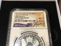 2016 LION & UNICORN QUEEN ELIZABETH 90TH BIRTHDAY PROOF 767/2500 1ozt Pf70 NGC
