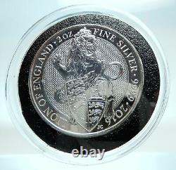 2016 UK Great Britain QUEEN ELIZABETH II Lion Genuine Silver 2 OZ Coin i79470