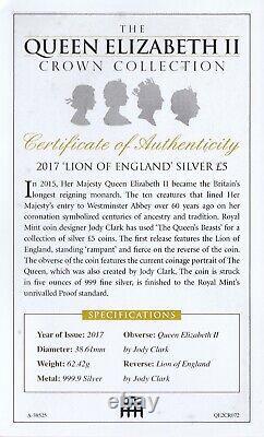 2017 Queen Elizabeth II Crown Collection Lion England 999.9 Silver £5 Coin