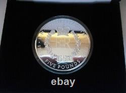 2017 Silver Proof £5 Five oz 65mm Queen Elizabeth Sapphire TDC COA FREE UK pp