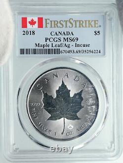 2018 CANADA UK Queen Elizabeth II MAPLE LEAF 1 OUNCE Silver $5 Coin PCGS i88567