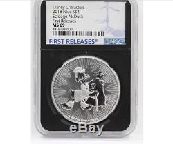 2018 Silver Coin McDuck First Releases Disney +Queen Elizabeth II NGC NIUE