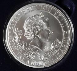 2019 Niue Island Czech Republic 10 oz $25 Silver Queen Elizabeth Lion Piedfort