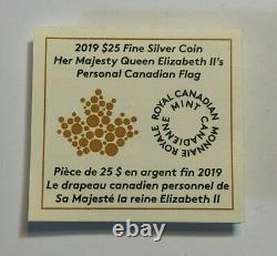 2019 RCM 1.5 oz Fine Silver Colored Coin, Her Majesty Queen Elizabeth II's Flag