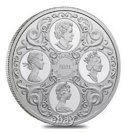 2021 Canada 1 oz Queen Elizabeth II Lover's Knot Tiara Silver Coin BOX COA NICE