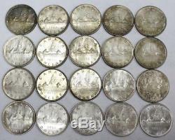 20X 1953 Canada Silver Dollars Queen Elizabeth II One roll 20 coins EF45-AU55+