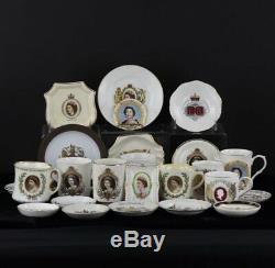 23 Pc. Lot Mug Dish Plate Queen Elizabeth II Coronation Golden & Silver Jubilee