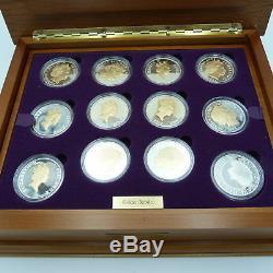24 Commemorative Silver Proof Coins Queen Elizabeth II Golden Jubilee Collection