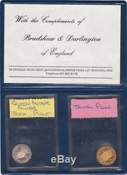 2 1980 Great Britain Royal Touch Pieces Queen Elizabeth Silver and Gold Medals