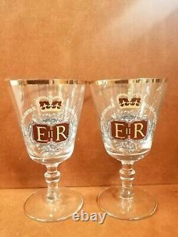 2 x Royal Memorabilia Queen Elizabeth II ER Silver Jubilee Wine Glass Goblet