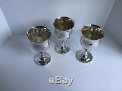 3 Sterling Silver Reed & Barton Queen Elizabeth H120 Goblets