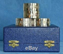 4 QUEEN ELIZABETH Jubilee Crown Sterling Silver Boxed Napkin Rings 5 Available