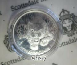 5 X 1 Troy Oz. 999 Silver 2017 Ghana AFRICAN LEOPARD QUEEN ELIZABETH Token Coin
