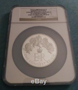 5oz 2015 S£10 NGC PF70 Ultra Cameo Queen Elizabeth Longest Reigning Monarch