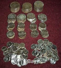 $66.55 F. V. Gem Queen Elizabeth II Canada. 800 Silver 1963 & 1964, Dimes $1