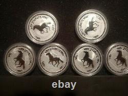 6-2002 Australian. 999 Silver Year Of Horse Proof Queen Elizabeth Series Coins