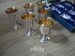 6 X SOLID SILVER & GILT WINE GOBLETS, QUEEN ELIZABETH. 1.1573-1973,1088, GMS