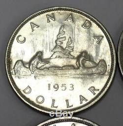 6x Canada silver dollars 1st Queen Elizabeth young head 1953-54-55-56-57 & 1958
