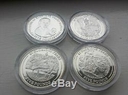 8x Gibraltar 2006 Queen Elizabeth II 80th Birthday Sterling Silver Crowns