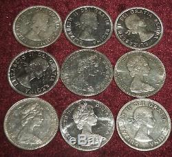 9 CANADA QUEEN ELIZABETH II. 800 SILVER $1 COINS 1960 -1967 211 Gms TW