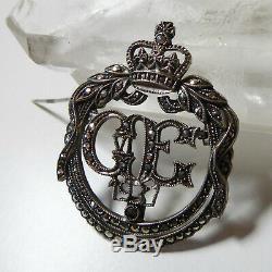 Antique King George & Queen Elizabeth Silver & Marcasite Coronation Brooch