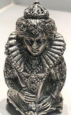 Antique Sterling Silver Salt And Pepper Shaker Set Auxberg 1800 Queen Elizabeth