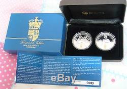 Australia 2012 Queen Elizabeth II Diamond Jubilee 1oz Silver 2 two Coin Set 0009