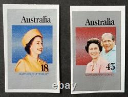 Australia Queen Elizabeth 1977 Silver Jubilee Set of 2 Imperf Proofs MUH