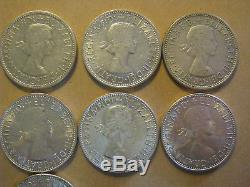 Australia Silver Florin 1953 1963 Date Set Queen Elizabeth 11 Coin Set + Bonus