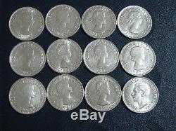 Australia Silver Florin 1953 1963 Date Set Queen Elizabeth 12 Coins Nice set