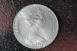 Bahamas $5 silver coin Queen Elizabeth II, 44 mm, KM10 Proof, 1970