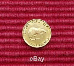Bailiwick of Jersey Queen Elizabeth Second Silver Wedding 1972 Five Pound Coin