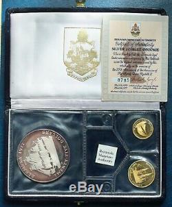 Bermuda 1977 Gold Silver Set 3 Coins Silver Jubilee Of H. M. Queen Elizabeth II