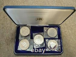 Boxed 5 Silver Medal Set 25th Anniversary Of Queen Elizabeth II & Prince Philip