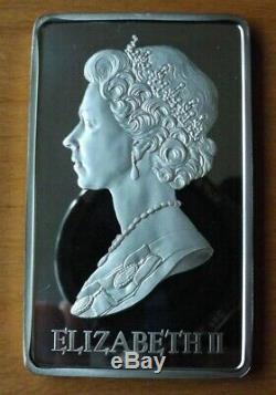 British Britannia Silver Large Queen Elizabeth II Ingot Proof Grade 2 Ounces