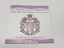CC 3 Silver Proof Crowns Queen Elizabeth 88th Birthday 2014