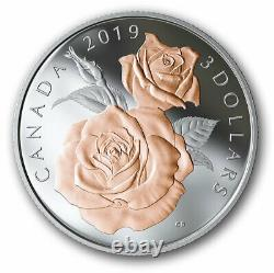 Canada $3 Dollars SILVER Coin Queen Elizabeth Gold Rose Blossoms, UNC, 2019