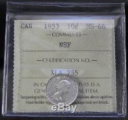 Canada Super Gem 1953 NSF Queen Elizabeth II Silver 10 cent ICCS Certified MS66